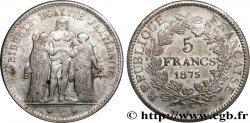 Faux de 5 francs Hercule, tranche striée 1875 Paris F.334/14 var. TTB50