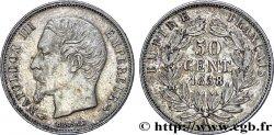 50 centimes Napoléon III, tête nue 1858 Paris F.187/9 AU50