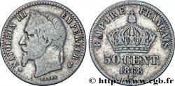 50 centimes Napoléon III, tête laurée 1868 Strasbourg F.188/20 S15