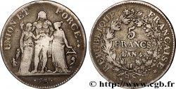 5 francs Union et Force, Union serré, avec glands intérieurs et gland extérieur 1796 Paris F.288/2 VF20
