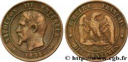 Dix centimes Napoléon III, tête nue 1855 Rouen F.133/21 S35