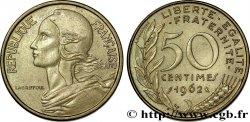 50 centimes Marianne, col à quatre plis 1962 Paris F.197/3 AU50