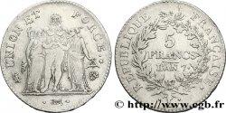 5 francs Union et Force, Union desserré, avec glands intérieurs et gland extérieur 1799 Bayonne/Paris F.291/15 TTB40