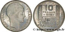 Préparation de la 10 francs Pétain, type Turin, essai en aluminium, tranche striée, lourd 1938 Paris GEM.173 4 var. SUP62
