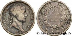 2 francs Napoléon Ier tête laurée, République française 1808 Perpignan F.254/12 SGE12