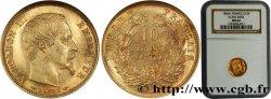 10 francs or Napoléon III, tête nue, petit module, tranche lisse 1854 Paris F.505/1 SUP62 NGC