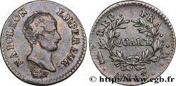 Quart (de franc) Napoléon Empereur, Calendrier révolutionnaire 1805 Toulouse F.158/14 TTB45