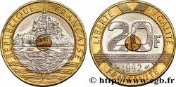 20 francs Mont Saint-Michel, 5 cannelures, V fermé 1992 Pessac F.403/2 TTB50