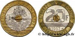20 francs Mont Saint-Michel, 5 cannelures, V fermé 1992 Pessac F.403/2 SS50