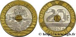 20 francs Mont Saint-Michel, 5 cannelures, V fermé 1992 Pessac F.403/2 AU50