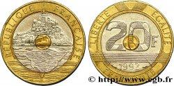 20 francs Mont Saint-Michel, 5 cannelures, \ / ouvert 1992 Pessac F.403/3 AU50