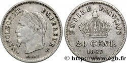 20 centimes Napoléon III, tête laurée, grand module 1867 Strasbourg F.150/2 VF30