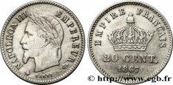 20 centimes Napoléon III, tête laurée, grand module 1867 Paris F.150/1 TTB40