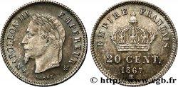 20 centimes Napoléon III, tête laurée, grand module 1867 Strasbourg F.150/2 SUP55