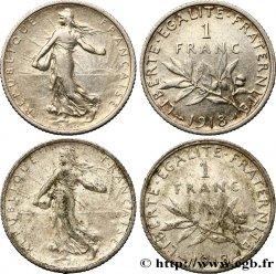 1 franc Semeuse - Lot de 2 monnaies 1918 Paris F.217/24 TTB45