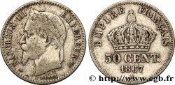 50 centimes Napoléon III, tête laurée 1867 Paris F.188/12 TB25