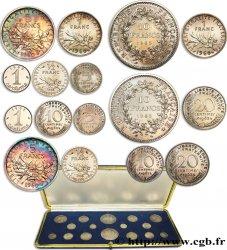 Coffret de présentation de deux fois huit piéforts argent de 1960 à 1966 -- Pessac GEM.292 CPA1 SPL