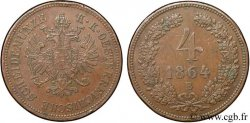 AUSTRIA 4 Kreuzer aigle bicéphale 1864 Kremnitz - B MBC