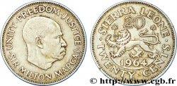 SIERRA LEONE 20 Cents lion / Sir Milton Margai 1964  EF