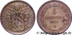 VATICAN ET ÉTATS PONTIFICAUX 5 Baiocchi frappé au nom de Pie IX an V 1851 Rome TTB+