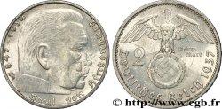 ALLEMAGNE 2 Reichsmark aigle surmontant une swastika / Maréchal Paul von Hindenburg 1937 Berlin SUP