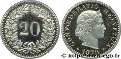 SWITZERLAND 20 Centimes Proof Helvetia 1978 Berne - B