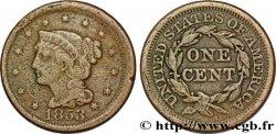 """ÉTATS-UNIS DAMÉRIQUE 1 Cent Liberté """"Braided Hair"""" 1853 Philadelphie TB"""