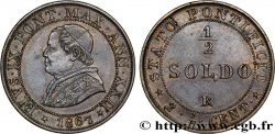 VATICAN AND PAPAL STATES 1/2 Soldo (2 1/2 centesimi) Pie IX an XXII 1867 Rome