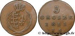 POLAND 3 Grosze Grand Duché de Varsovie, armes de Saxe et de Pologne 1811 Varsovie VF