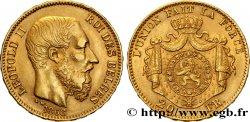 BELGIQUE 20 Francs or Léopold II 1868 Bruxelles TTB