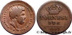 ITALIE - ROYAUME DES DEUX-SICILES 2 Tornesi Royaume des Deux-Siciles, Ferdinand II / couronne étoile à 6 pointes 1843 Naples TB