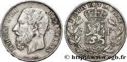 BELGIUM 5 Francs Léopold II tranche position A 1873  VF