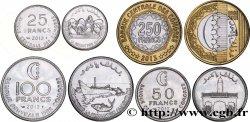 COMOROS lot de 4 monnaies 25, 50, 100 et 250 Francs 2013