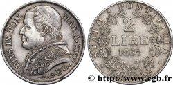 VATICAN AND PAPAL STATES 2 Lire Pie IX an XXII 1867 Rome AU