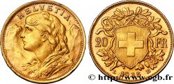 SWITZERLAND 20 Francs or Vreneli 1935 Berne AU