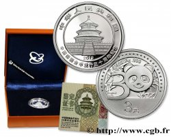 CHINA 3 Yuan Proof 30e anniversaire des monnaies Panda 2012