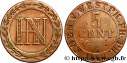 GERMANY - KINGDOM OF WESTPHALIA 5 Centimes monogramme de Jérôme Napoléon 1812 Cassel XF