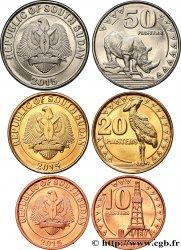 SOUDAN DU SUD Lot de 3 monnaies de 10, 20 et 50 Piastres 2015  SPL