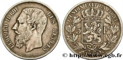 BELGIUM 5 Francs Léopold II 1869  VF