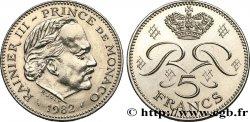 MONACO 5 Francs Rainier III / monogramme couronné 1982 Paris SUP
