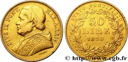 VATICAN - PIE IX 50 Lire an XXIV 1870 Rome TTB