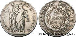 ITALY - SUBALPINE GAUL 5 Francs an 10 1802 Turin VF