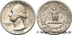 """ÉTATS-UNIS DAMÉRIQUE 1/4 Dollar Georges Washington """"Double Die"""" 1943 Philadelphie TTB+"""