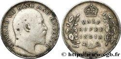 BRITISH INDIA 1/2 Roupie Edouard VII 1907 Calcutta VF