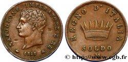 ITALY - KINGDOM OF ITALY - NAPOLEON I Soldo Napoléon Empereur et Roi d'Italie 1813 Milan XF