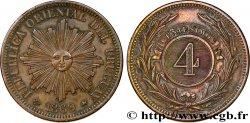 URUGUAY 4 Centesimos 1869 Paris XF
