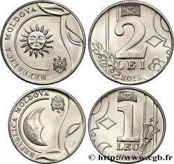 MOLDOVA 2 x 1.00-1 Leu issue 2018 UNC