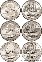 STATI UNITI D AMERICA Lot de trois 1/4 Dollar Voyageurs National Park - Minnesota 2018 Philadelphie-Denver-San Francisco