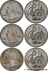 UNITED STATES OF AMERICA Lot de 3 monnaies 1/4 Dollar Lowell National Historical Park -Massachusetts 2019 Philadelphie-Denver-San Francisco