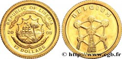 LIBERIA 12 Dollars Proof Belgique 2008